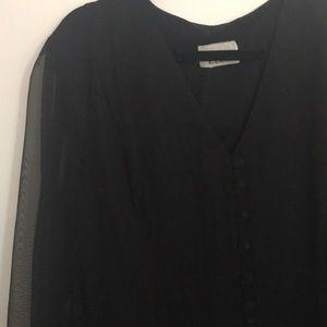 Vintage mesh sleeve button down dress